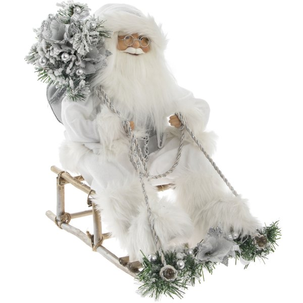 SANTA MOVING SITTING SILV 18""