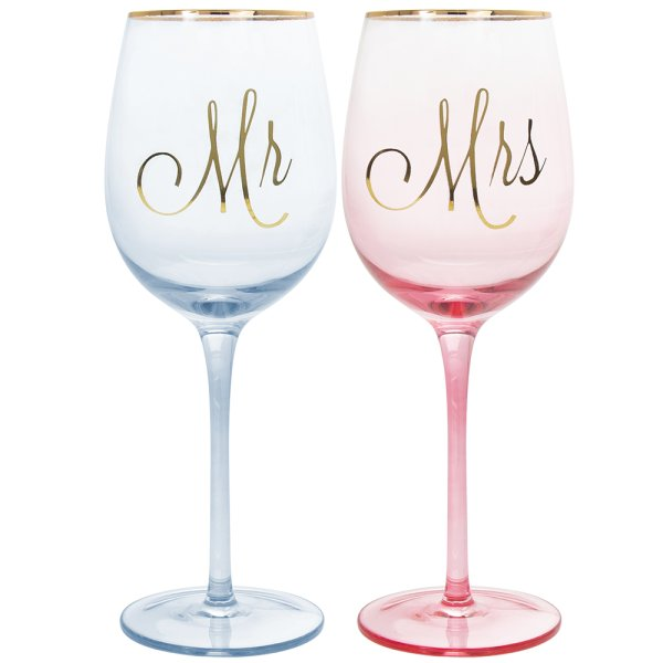 MR & MRS WINE GLASSES