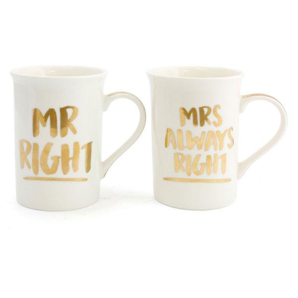 MR RIGHT&MRS ALWAYS MUGS 2SET