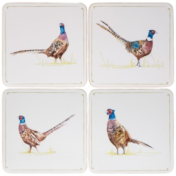 PHEASANT COASTERS 4 SET