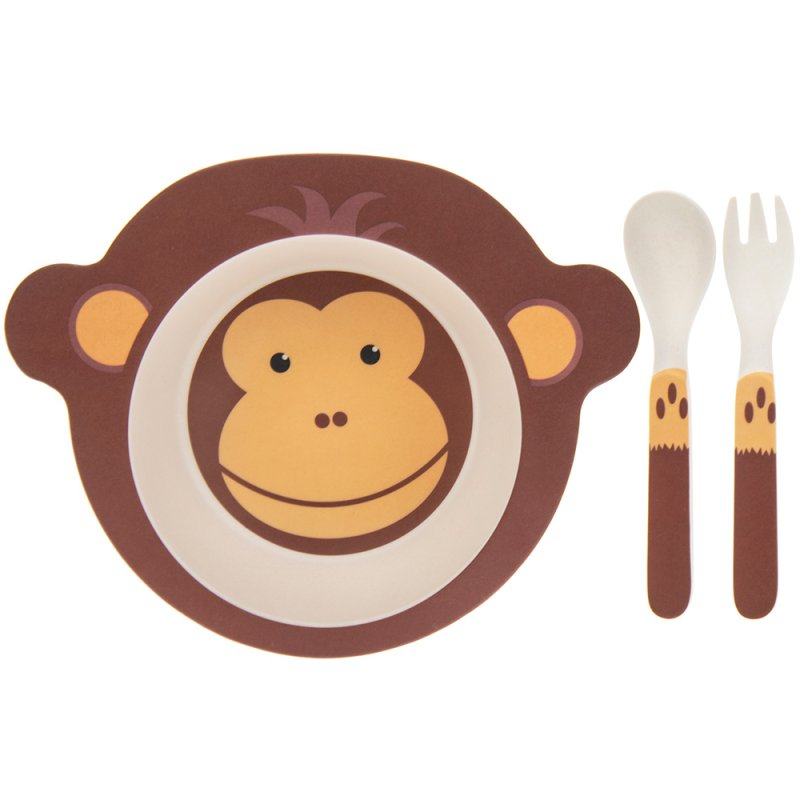 BAMBOO ECO EATING SET MONKEY