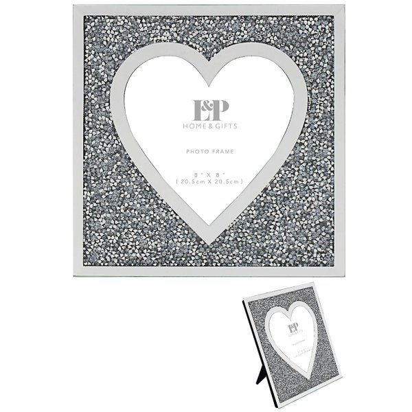 MULTI CRYSTAL HEART FRAME 8X8""