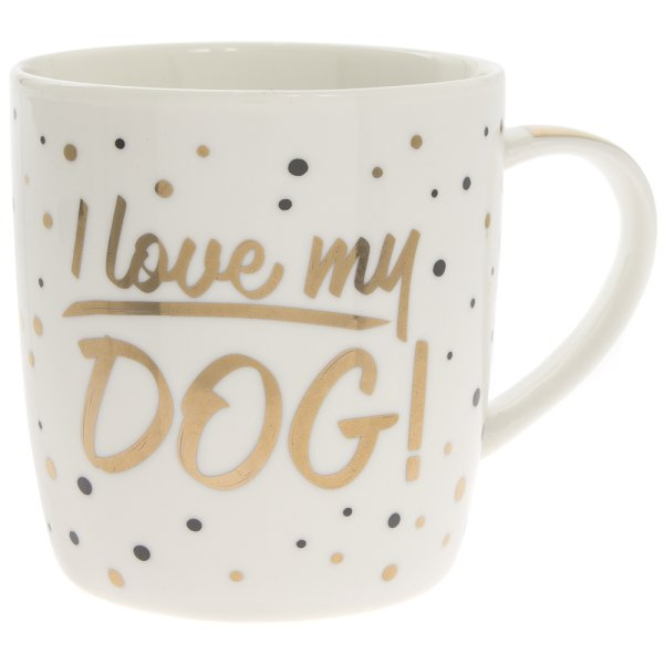 GOLD I LOVE MY DOG MUG