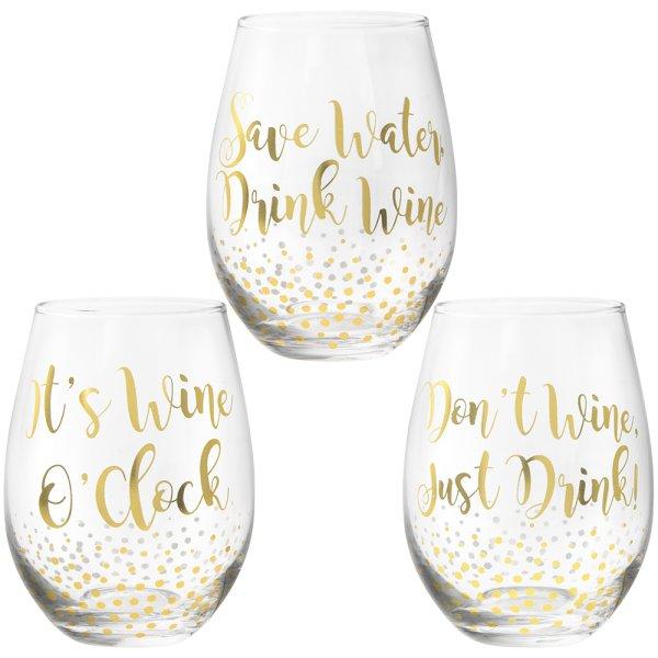 GOLD STEMLESS WINE GLASS 3ASST