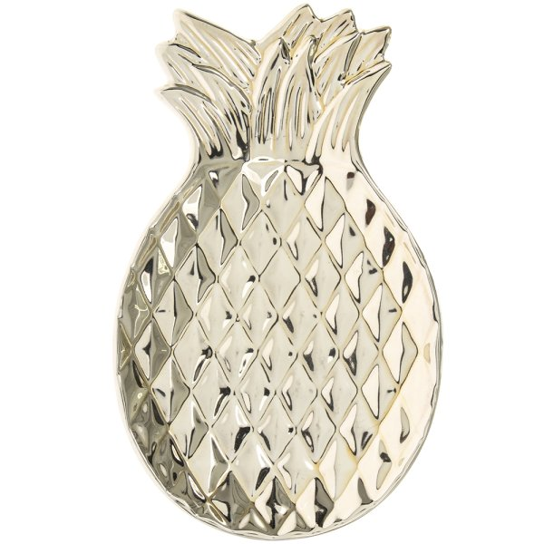 GOLD ART PINEAPPLE DISH 7""