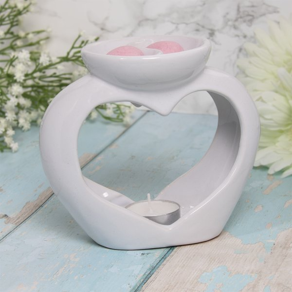 WAX/OIL WARMER HEART TWIN WHT