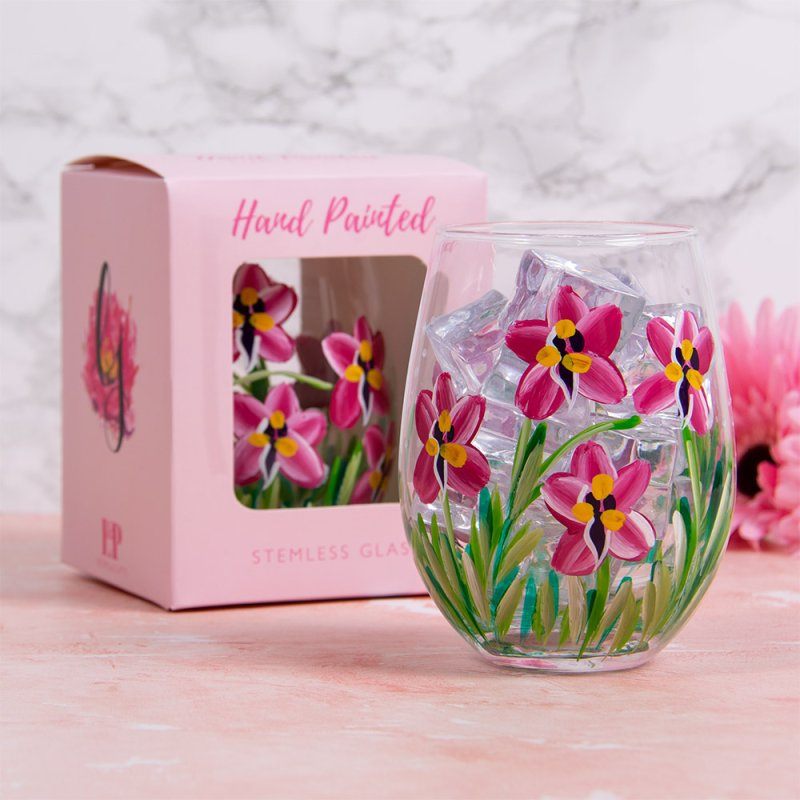 PINK ORCHIDS STEMLESS GLASS