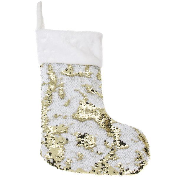 SEQUIN STOCKING WHT / GOLD