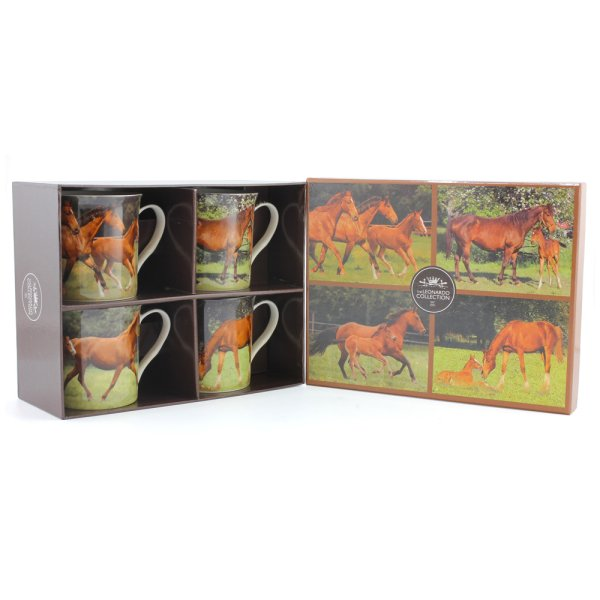 HORSES MUGS SET OF 4