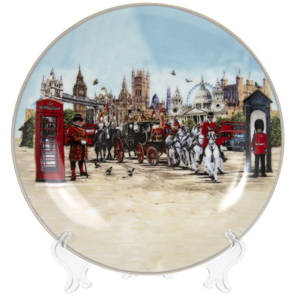 LONDON COLLAGE PLATE/STAND 8""
