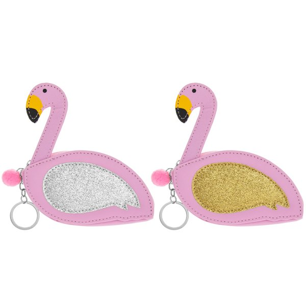 FLAMINGO PURSE/KEYRING 2 ASST