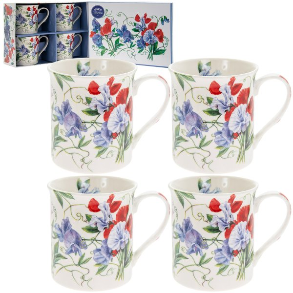 SWEET PEA MUGS SET 4