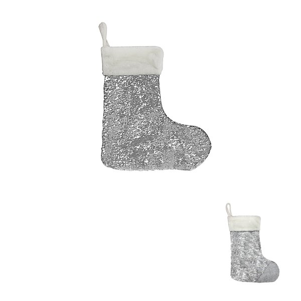 WHITE & SILVER SEQUIN STOCKING