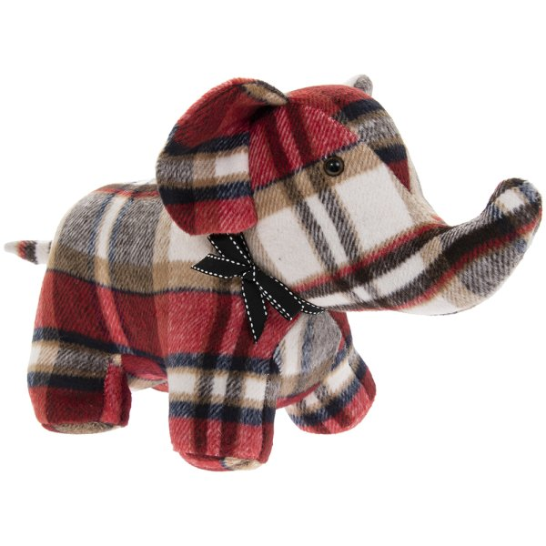RED CHECK ELEPHANT DOORSTOP
