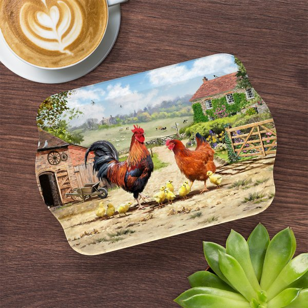 COCKEREL & HEN TRAY SML